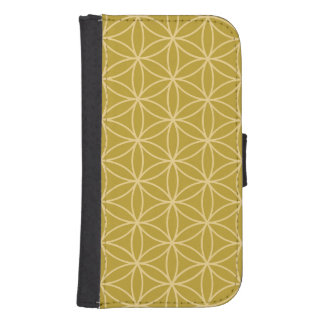 Flower of Life Pattern Light Gold on Gold Samsung S4 Wallet Case