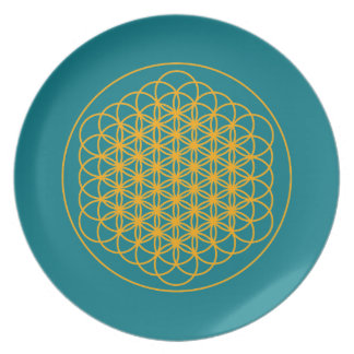 Flower of life positive energy food Plate by Dmt