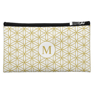 Flower of Life Ptn (Personalised) – Gold on White Makeup Bag