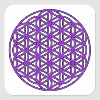 Flower of Life Purple Square Sticker