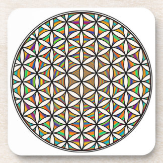 Flower of life rainbow coasters