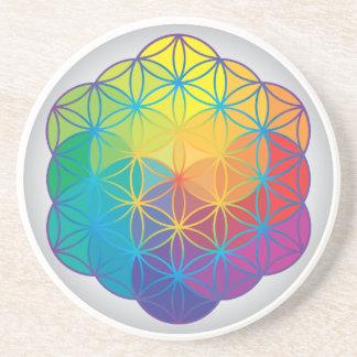 Flower of Life Rainbow Colors Harmony Energy Coaster