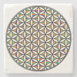 Flower of life rainbow stone coaster