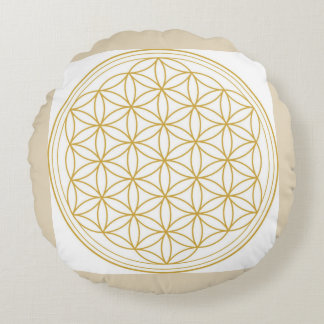 Flower Of Life Sacred Geometry Round Pillow