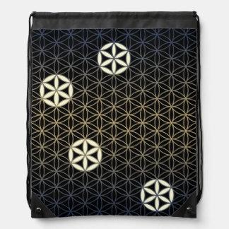Flower Of Life - seamless pattern - blue beige Drawstring Bag