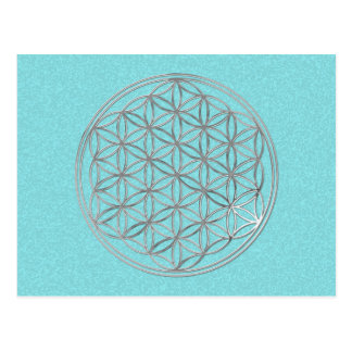 Flower Of Life | silver, cyan splatter Postcard