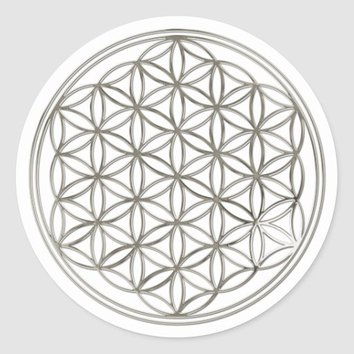 FLOWER OF LIFE - silver Round Stickers
