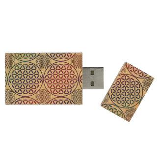 Flower of Life - stamp grunge pattern 1 Wood USB 2.0 Flash Drive