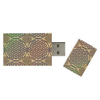 Flower of Life - stamp grunge pattern 2 Wood USB 2.0 Flash Drive