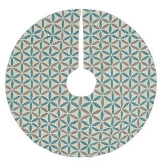 Flower of Life - stamp pattern - BG 1 Brushed Polyester Tree Skirt