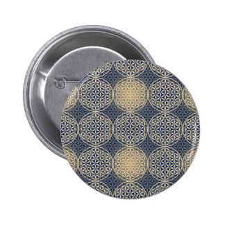 Flower of Life - stamp pattern - blue sand Pinback Button