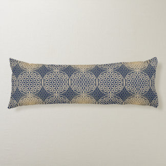 Flower of Life - stamp pattern - blue sand Body Cushion