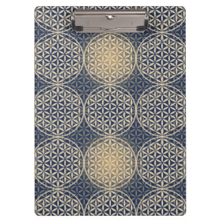 Flower of Life - stamp pattern - blue sand Clipboards