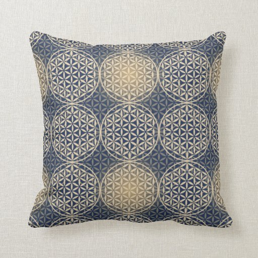 Flower of Life - stamp pattern - blue sand Pillow