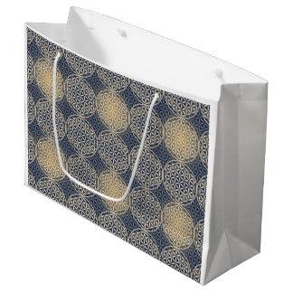 Flower of Life - stamp pattern - blue sand Large Gift Bag