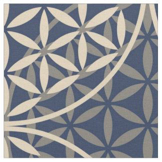 Flower of Life - stamp pattern - blue sand Fabric
