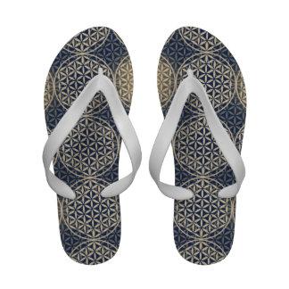 Flower of Life - stamp pattern - blue sand Flip-Flops