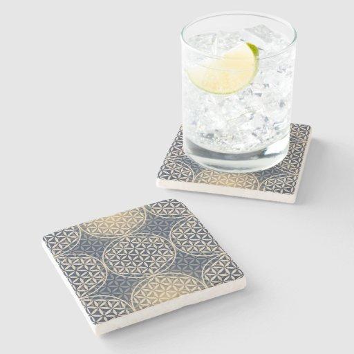 Flower of Life - stamp pattern - blue sand Stone Beverage Coaster