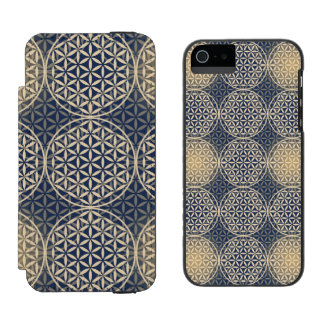 Flower of Life - stamp pattern - blue sand Incipio Watson™ iPhone 5 Wallet Case