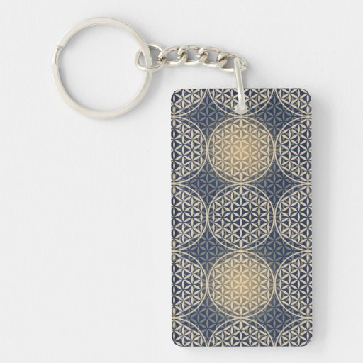 Flower of Life - stamp pattern - blue sand Acrylic Keychain