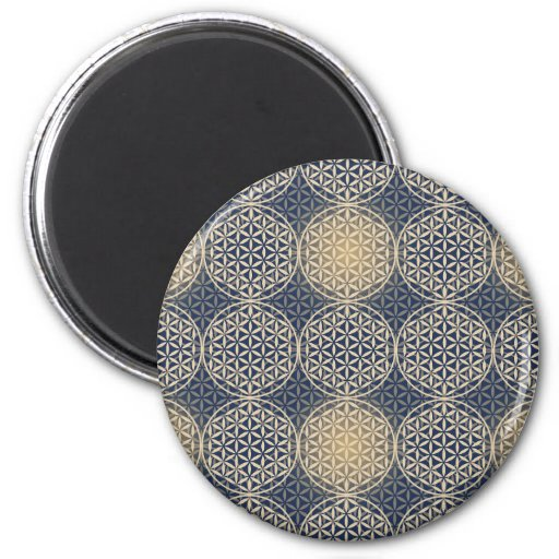Flower of Life - stamp pattern - blue sand Fridge Magnet