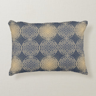 Flower of Life - stamp pattern - blue sand Accent Pillow