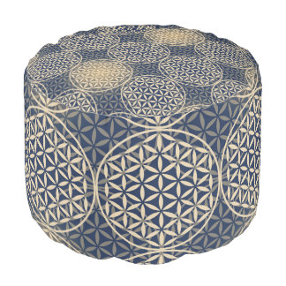 Flower of Life - stamp pattern - blue sand Round Pouf