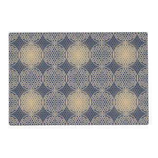 Flower of Life - stamp pattern - blue sand Laminated Place Mat