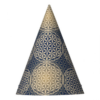 Flower of Life - stamp pattern - blue sand Party Hat