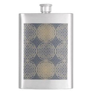 Flower of Life - stamp pattern - blue sand Hip Flasks