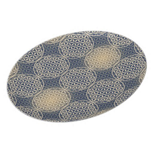 Flower of Life - stamp pattern - blue sand Plates