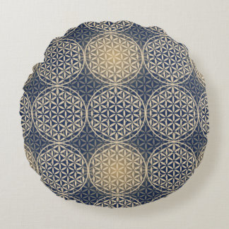 Flower of Life - stamp pattern - blue sand Round Cushion