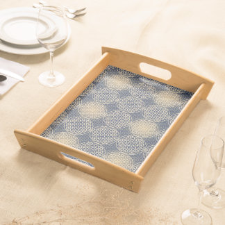 Flower of Life - stamp pattern - blue sand Service Trays