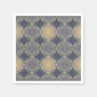 Flower of Life - stamp pattern - blue sand Paper Napkins