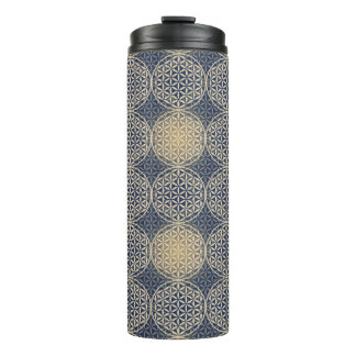 Flower of Life - stamp pattern - blue sand Thermal Tumbler
