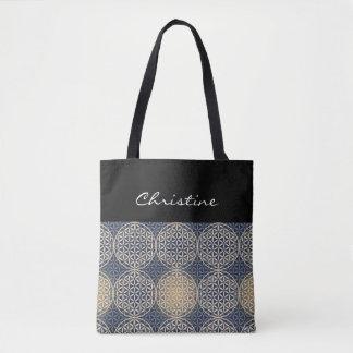 Flower of Life - stamp pattern - blue sand Tote Bag