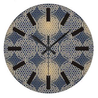 Flower of Life - stamp pattern - blue sand Wallclock