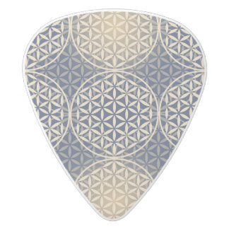 Flower of Life - stamp pattern - blue sand White Delrin Guitar Pick