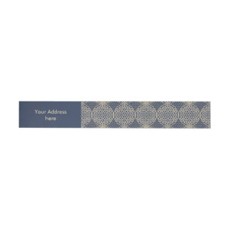 Flower of Life - stamp pattern - blue sand Wraparound Address Label