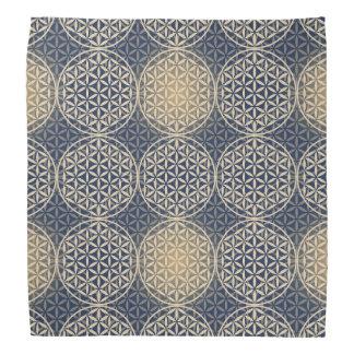 Flower of Life - stamp pattern - blue sand Bandanna