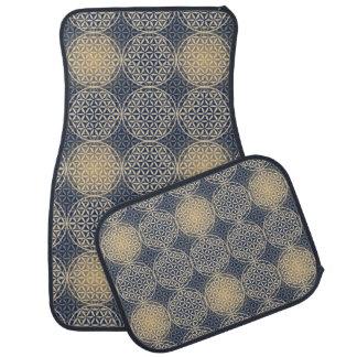 Flower of Life - stamp pattern - blue sand Floor Mat