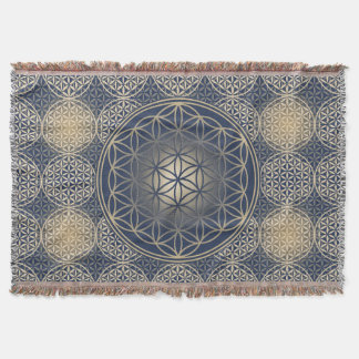 Flower of Life - stamp pattern - blue sand Throw