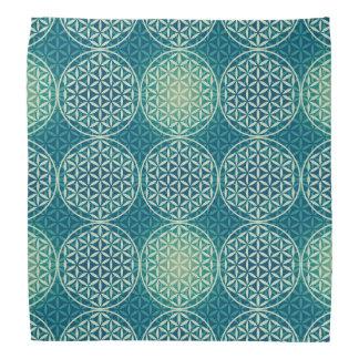 Flower of Life - stamp pattern - cyan blue Head Kerchief