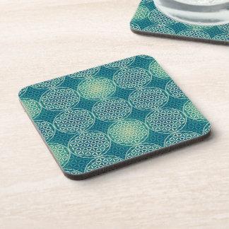 Flower of Life - stamp pattern - cyan blue Beverage Coaster