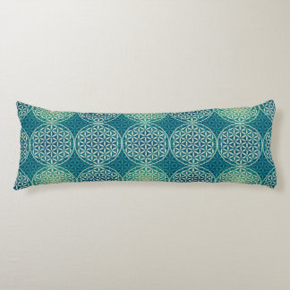 Flower of Life - stamp pattern - cyan blue Body Cushion