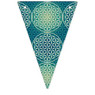 Flower of Life - stamp pattern - cyan blue Bunting