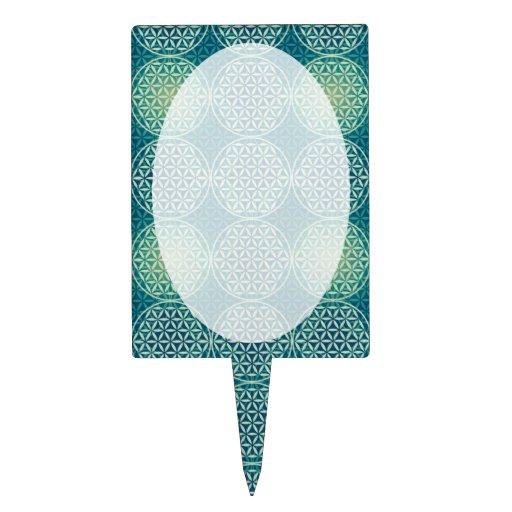 Flower of Life - stamp pattern - cyan blue Cake Picks