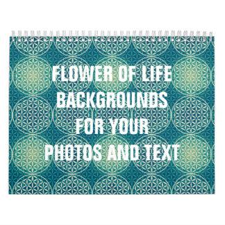 Flower of Life - stamp pattern - cyan blue Wall Calendar