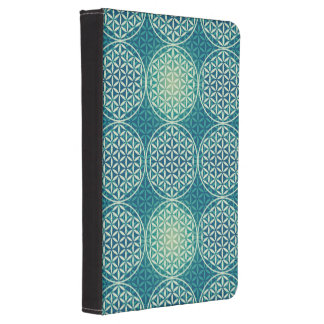 Flower of Life - stamp pattern - cyan blue Kindle Cover