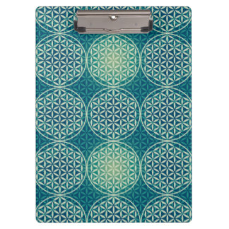 Flower of Life - stamp pattern - cyan blue Clipboard